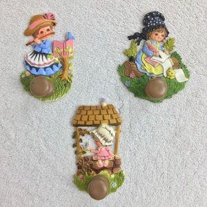 Vintage 1950s Children's Wall Hooks girl kids rare